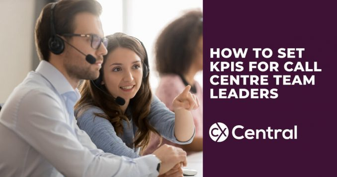 A picture of a call centre team leader coaching an agent the heading Setting KPIs for Call Centre Team Leaders